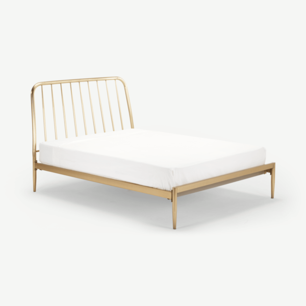 Alana Double Bed, Brushed Brass