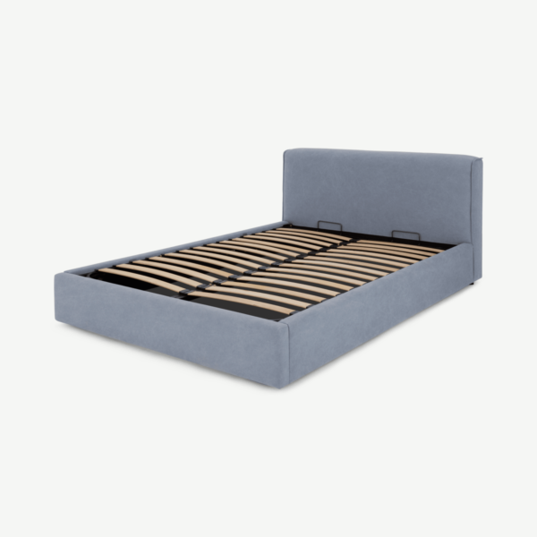Bahra King Size Bed with Ottoman Storage, Washed Blue Cotton