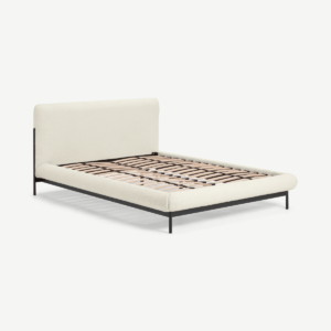 Balmore Double Bed, White Boucle & Black