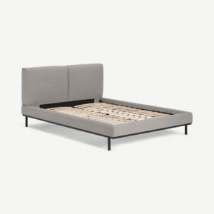 Perri King Size Bed, Washed Grey Cotton
